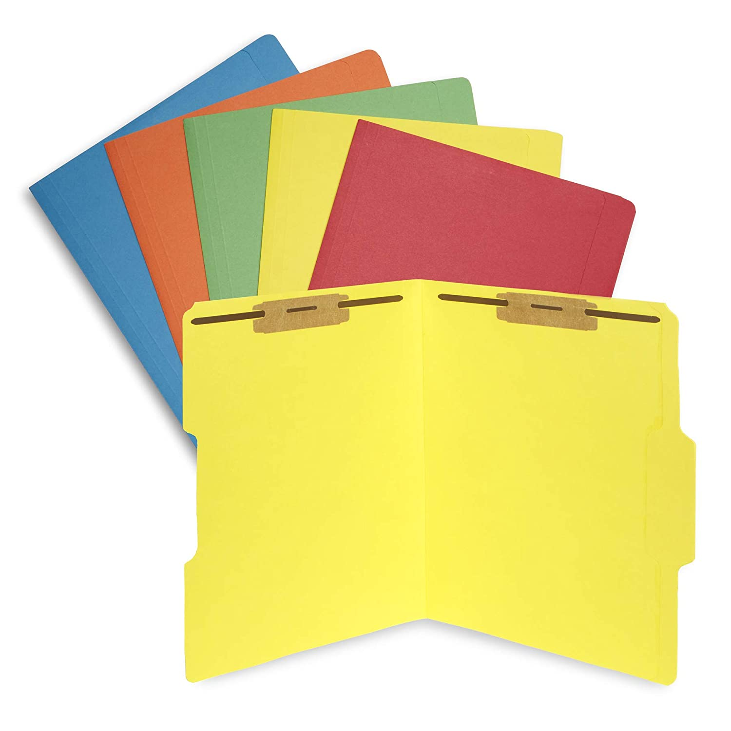 50 Assorted Color Fastener File Folders - 1/3 Cut Reinforced tab - Durable 2 Prongs Bonded Fastener Designed to Organize Standard Medical Files, Law Client Files, Office Reports - Letter Size
