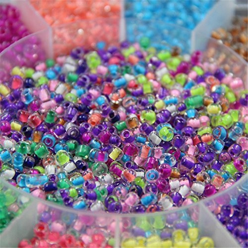 About 15000pcs Transparent Round Glass Seed Beads Diameter 4mm DIY Jewelry for Necklace and Bracelet Crafts (Multi-color)