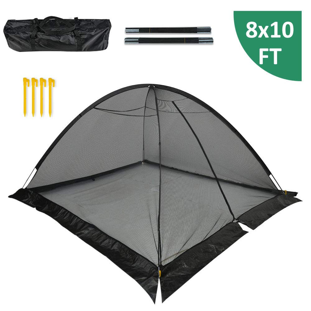 GROWNEER 8x10 Feet Pond Garden Cover Protective Net Tent Dome Netting with 4 Stakes, Storage Bag, Fiberglass Poles, Suitable for Yard, Landscape, Pond, Garden by GROWNEER