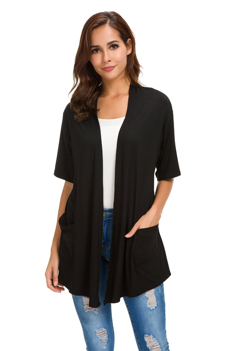 NB Womens Short Sleeve Open Front Lightweight Casual Comfy Long Line Drape Hem Soft Modal Cardigans Sweater with Two Pockets (Black, L)