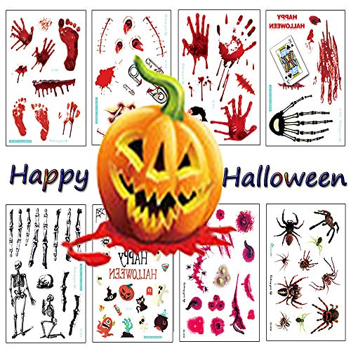 Zehhe 18 Sheets Halloween Bleeding Wound Scar Blood Temporary Tattoos Fake Bloody Stickers for Party Cosplay Costumec - Non Toxic FDA Approved Colorants -