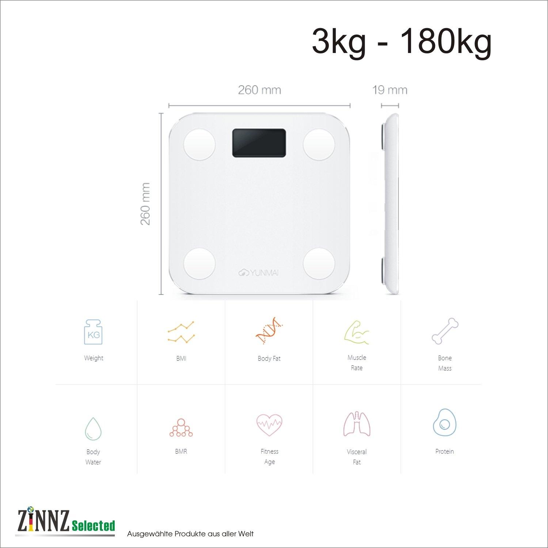 ZINNZ SELECTED yunmai Mini Smart Báscula Báscula de análisis corporal de grasa corporal (Smart Scale 3 kg de 180kg: Amazon.es: Electrónica