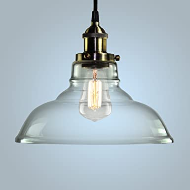 Pendant Light Hanging Glass Ceiling Mounted Chandelier Fixture, SHINE HAI Modern Industrial Edison Vintage Style