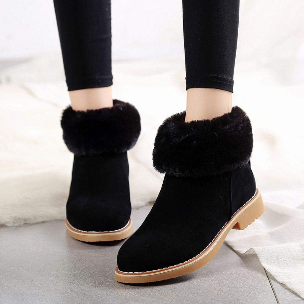 Gyoume Winter Snow Boots,Women Girls Ankle Boots Flat Wedge Warm Boots Shoes Outdoor Boots