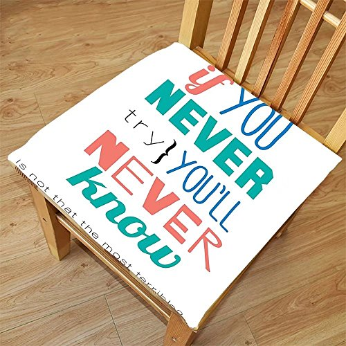 Nalahome Set of 2 Waterproof Cozy Seat Protector Cushion Quotes Decor If You Never Try YouLl Never Know Philosophy Inspiration Modern Artistic Sign Printing Size - App Sunglasses Try On