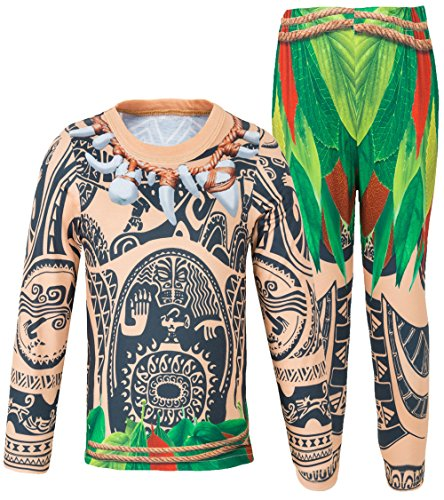 Boys Pajamas Sets 2 pcs Tops and Pants Maui Costume (10 (9-10Years), Long sleeve01) (Top 10 Costumes)