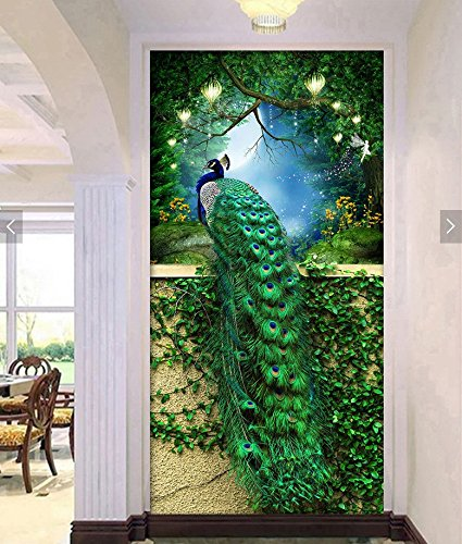 Faraway Peacock 5D DIY Crystal Diamond Rhinestone Painting Pasted Paint by Number Kits Animal Full Diamond Mosaic 40x60cm (Green)