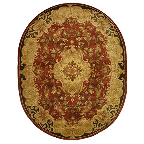 Safavieh Classic Collection CL234A Handmade Traditional Oriental Rust and Green Wool Oval Area Rug (4'6
