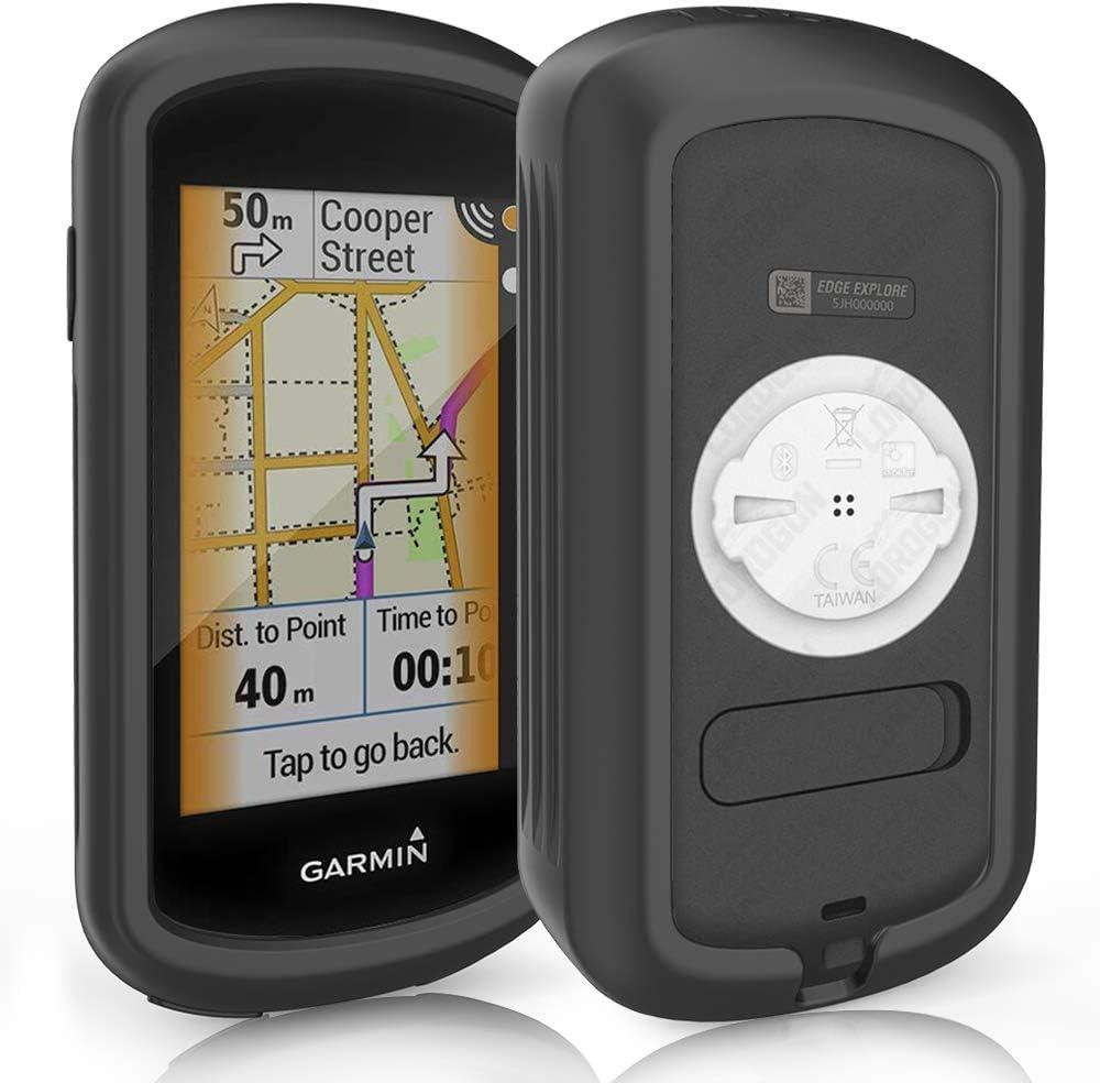 TUSITA Funda para Garmin Edge Explore GPS - Protector de Silicona Protector de Piel - Pantalla táctil Accesorios para computadora de Ciclismo (Negro)