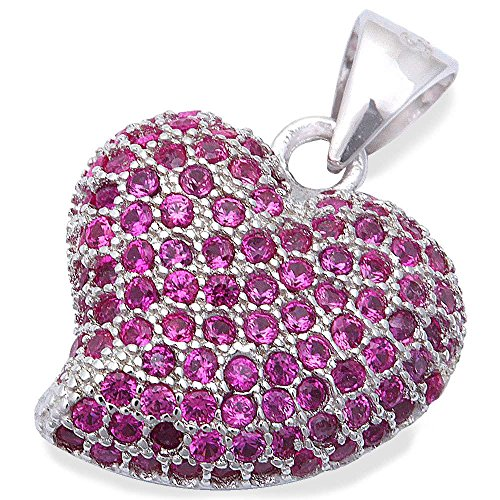 Pave Style Ruby Heart .925 Sterling Silver Pendant (Ruby Pave)