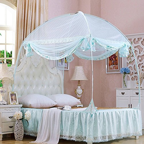 CdyBox Princess Mosquito Net Bed Tent Canopy Curtains Netting with Stand Fits Twin Full Queen (Blue, Full/Queen)