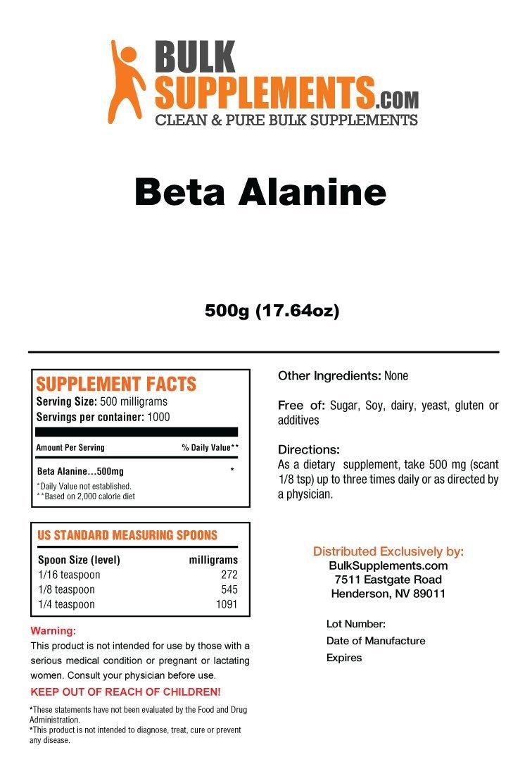 Bulksupplements Pure Beta Alanine Powder (500 grams) by BulkSupplements (Image #2)