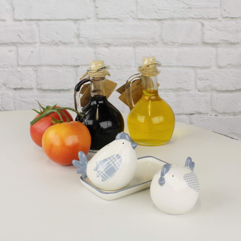 su vassoio in ceramica stile rustico Saliera e pepiera a forma di gallina MACOSA EX215242