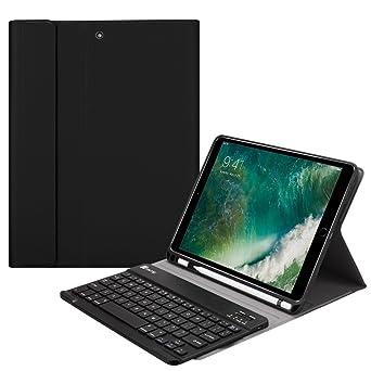 Fintie Slim Tastatur Hülle für iPad 9.7 2018, Soft TPU Rückseite Abdeckung Keyboard Case mit eingebautem Apple Pencil Halter