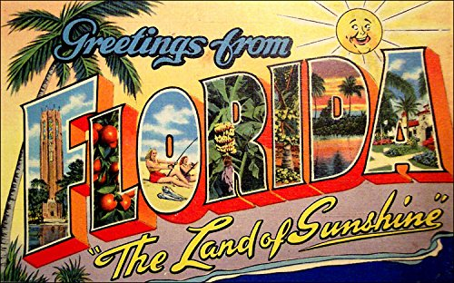 American Vinyl Greetings from Florida Sticker (Vintage Post Card Design) ()