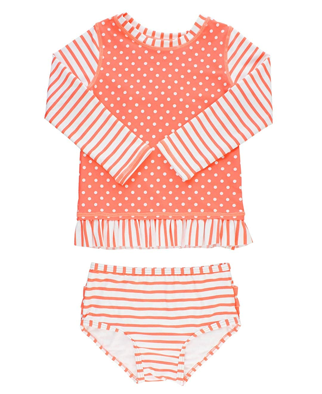 RuffleButts Baby//Toddler Girls Long Sleeve Rash Guard 2-Piece Swimsuit Set Stripes Polka with UPF 50 Sun Protection