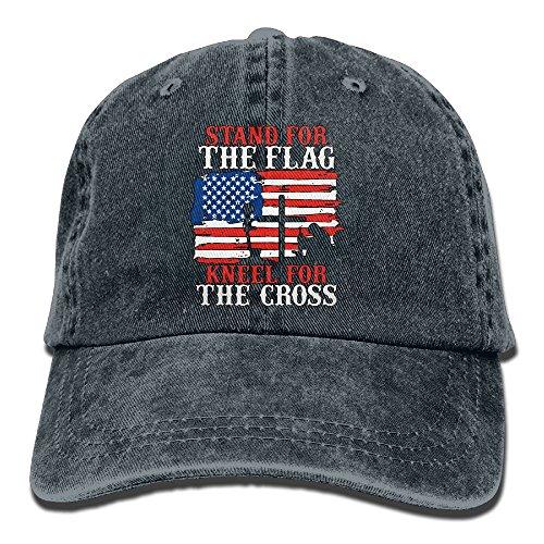 Stand for The Flag T Shirt Kneel for The Cross-3 Men Women Classic Cotton Denim Baseball Cap Adjustable Plain Cap Navy