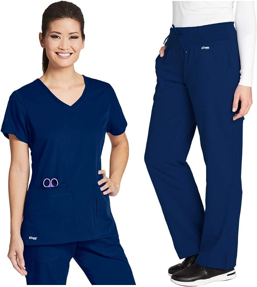 Grey's Anatomy 41423-4276 Women's Active Top - Yoga Pant Medical Scrub Set Indigo S-S