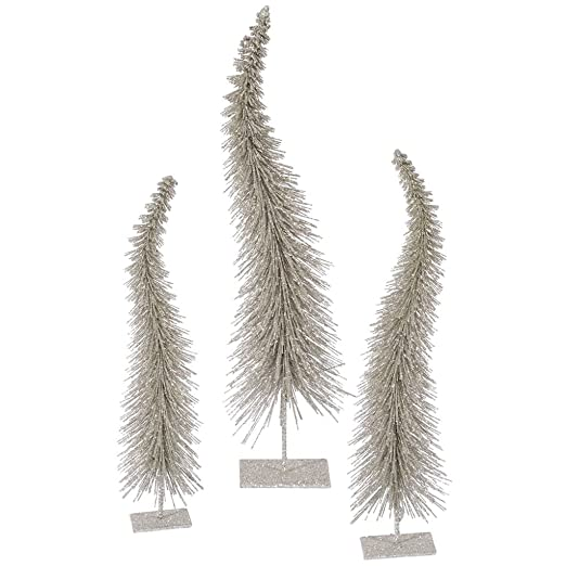 Champagne Glitter Curved Trees - Set of 3