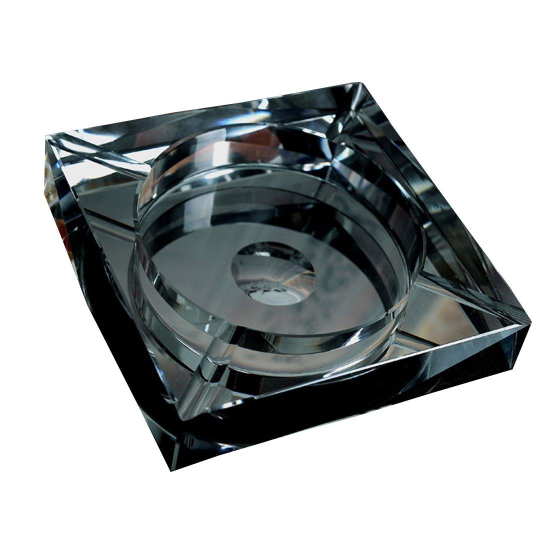 灰皿 クリスタル ガラス スクエア 高級 アッシュトレイ おしゃれ灰皿 ブラック 18cm OSONA B01HI2WCTY 18cm ブラック ブラック 18cm