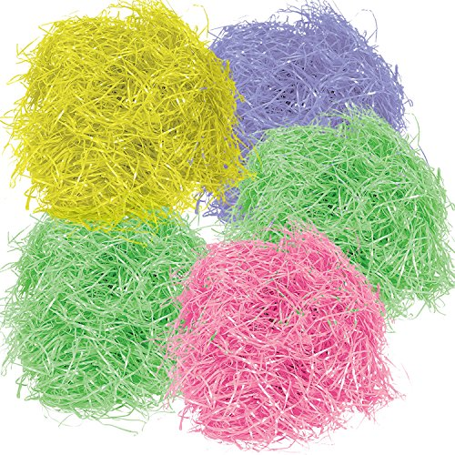Gift Boutique 567 g 20 oz Multicolor Easter Grass Pink Yellow Purple and 2 Green Bags for Baskets Egg Stuffers for Spring Party Crafts Supplies Accessories Decorations -