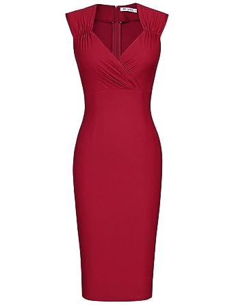 4d71f9cb MUXXN Womens Audrey Hepburn Sleeveless Pencil Evening Party Dress (XXL  Burgundy)