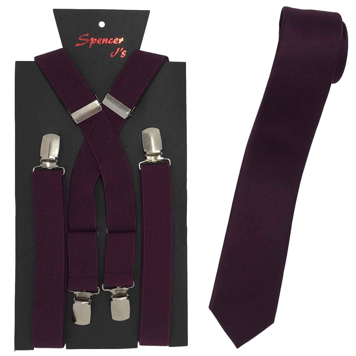 Spencer J's Skinny Neck Tie and Suspender set Variety of Colors (Plum)