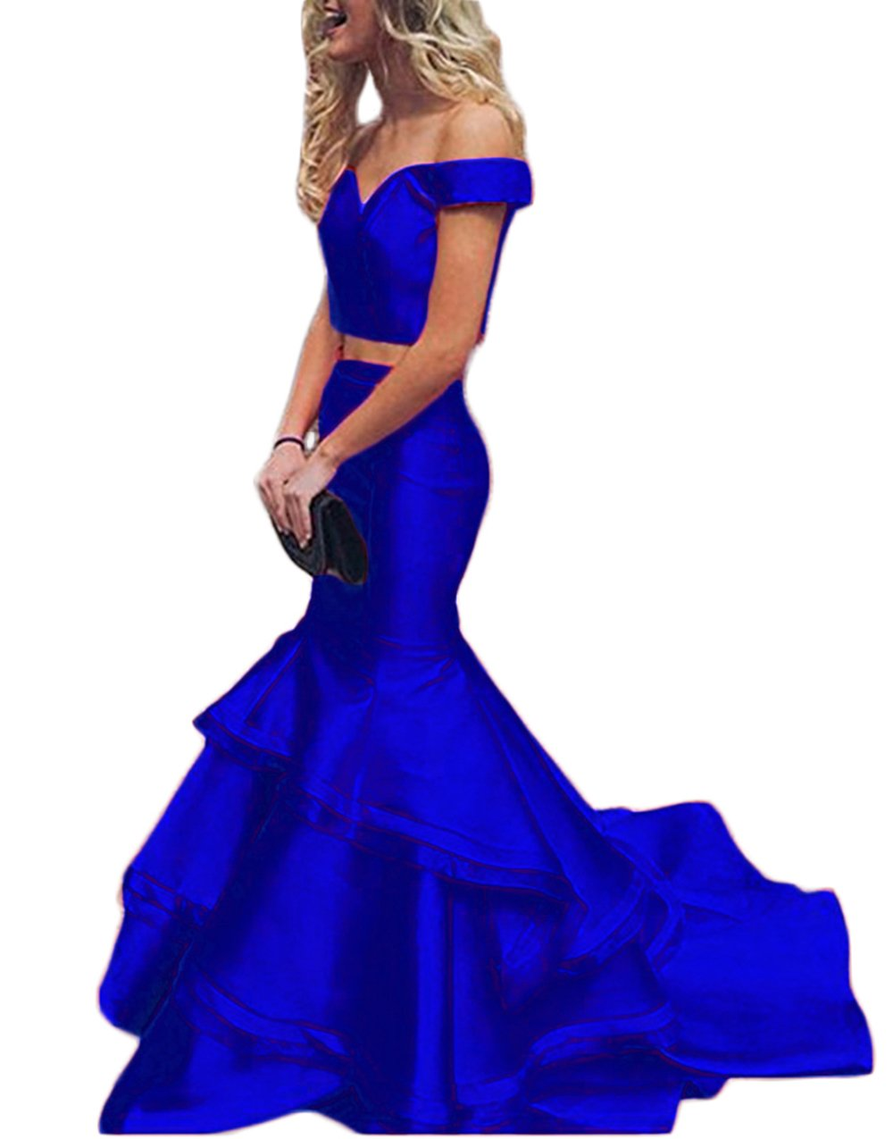 M Bridal Women's Cap Sleeve Off Shoulder 2 Piece Layers Skirt Mermaid Prom Dress Royal Blue Size 12