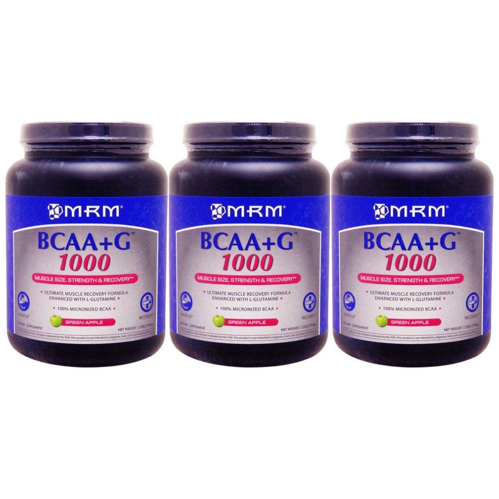 【3個セット】<グリーンアップル>[ 大容量1kg ] BCAA(分岐鎖アミノ酸)+Lグルタミン【海外直送品】 B01IVGXC72   3個