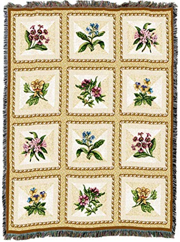 Pure Country Weavers | French Floral Flower Gift Woven Tapestry Throw Blanket with Fringe Cotton USA 72x54
