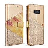 ZCDAYE Wallet Case for Samsung Galaxy S7 Edge,Premium Bling Glitter [Magnetic Closure] PU Leather [Ceramic Pattern] Stand Soft TPU with [Card Slots] Flip Cover for Samsung Galaxy S7 Edge - Gold