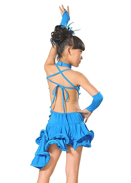 7a3f5f3cf12cb Feoya - Robe Costume Latino Fille Robe Danseuse Salsa Leotard Robe Danse  Irrégulière Robe à Bretelles Bandage Robe à Paillettes 6-12ans Jaune Rouge  Noir ...