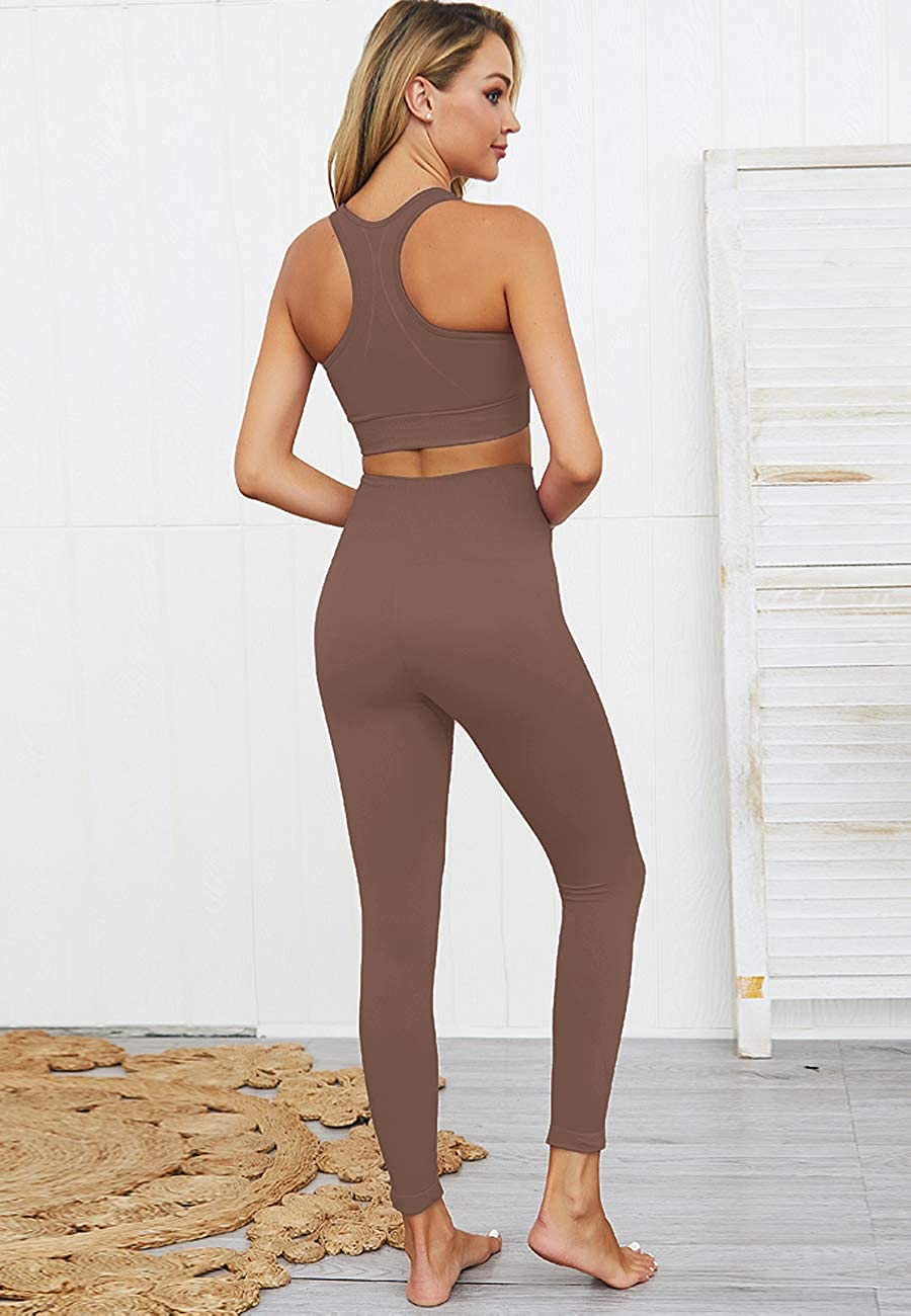 HAODIAN Womens Workout Sets 2 Piece Seamless Slim Fit Yoga Clothing Outfits Set
