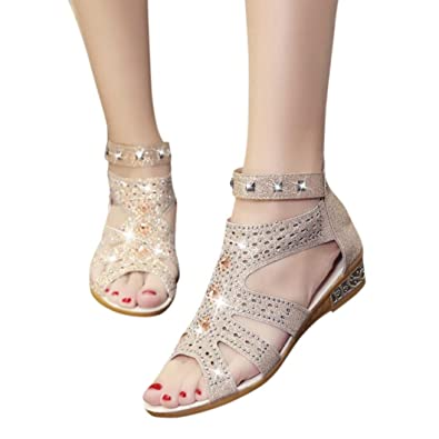 b9982696445e Summer Sandal Women s Mid Heel Platform Wedge Sandals Glitter Roman Shoes  (5.5 B(M