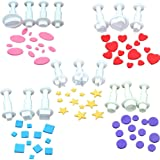 16pcs Plunger Cutters Fondant Cookie Cutters Sugarcraft Cake Decorating Tools, Square/Round/Heart/Oval/ Five-Pointed Star, White