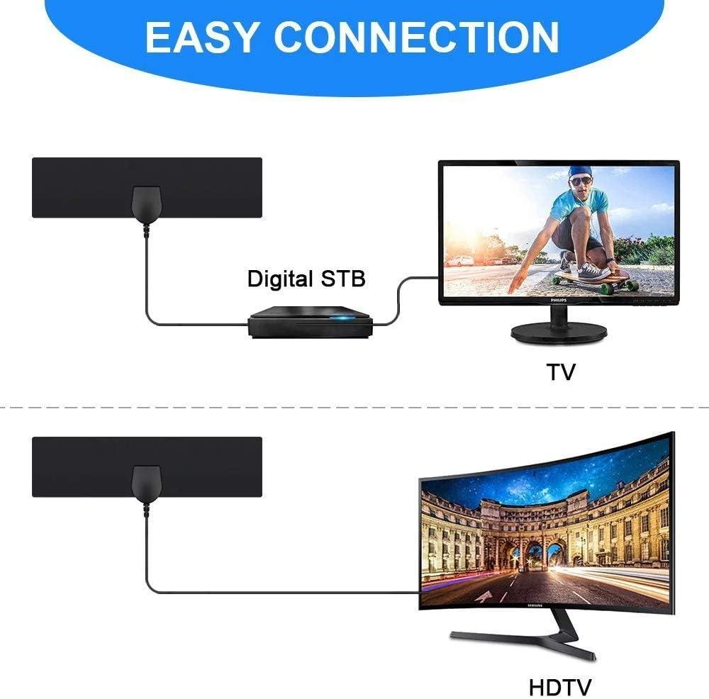 Antena HDTV para antena de TV para interiores, alcance de 50 millas, compatible con antena 4K 720P 1080i 1080p/ATSC y televisores más antiguos, antena para TV digital en interiores, antena ultradelgada para