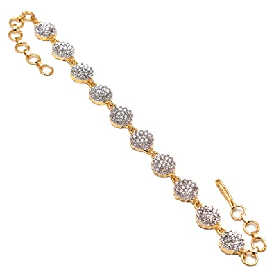 bc8be882819 Geode Delight Gold Plated American Diamond Floral Design Bracelet for Women  & Girls
