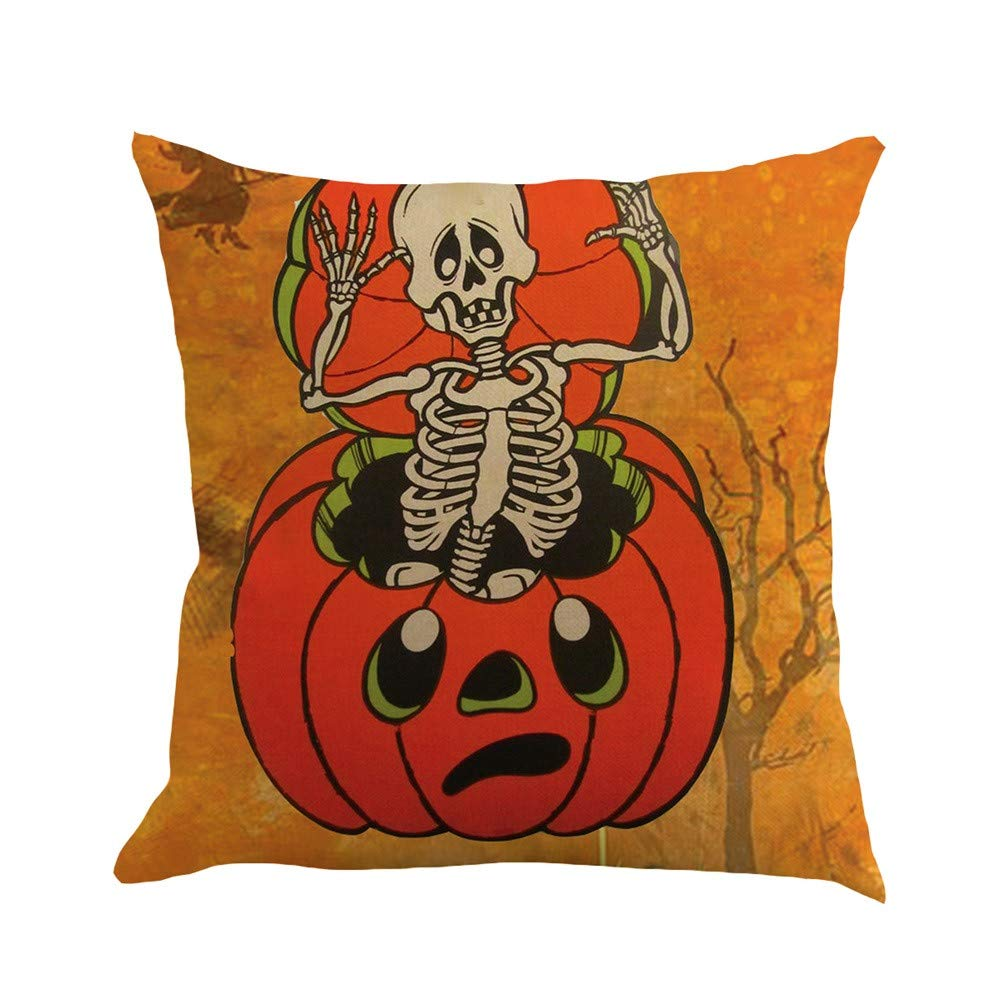 Pgojuni Happy Halloween Happy Fall Yall Flax Pillowcase Decoration Throw Pillow Cover Cushion Cover Pillow Case for Sofa/Couch 1pc (A)