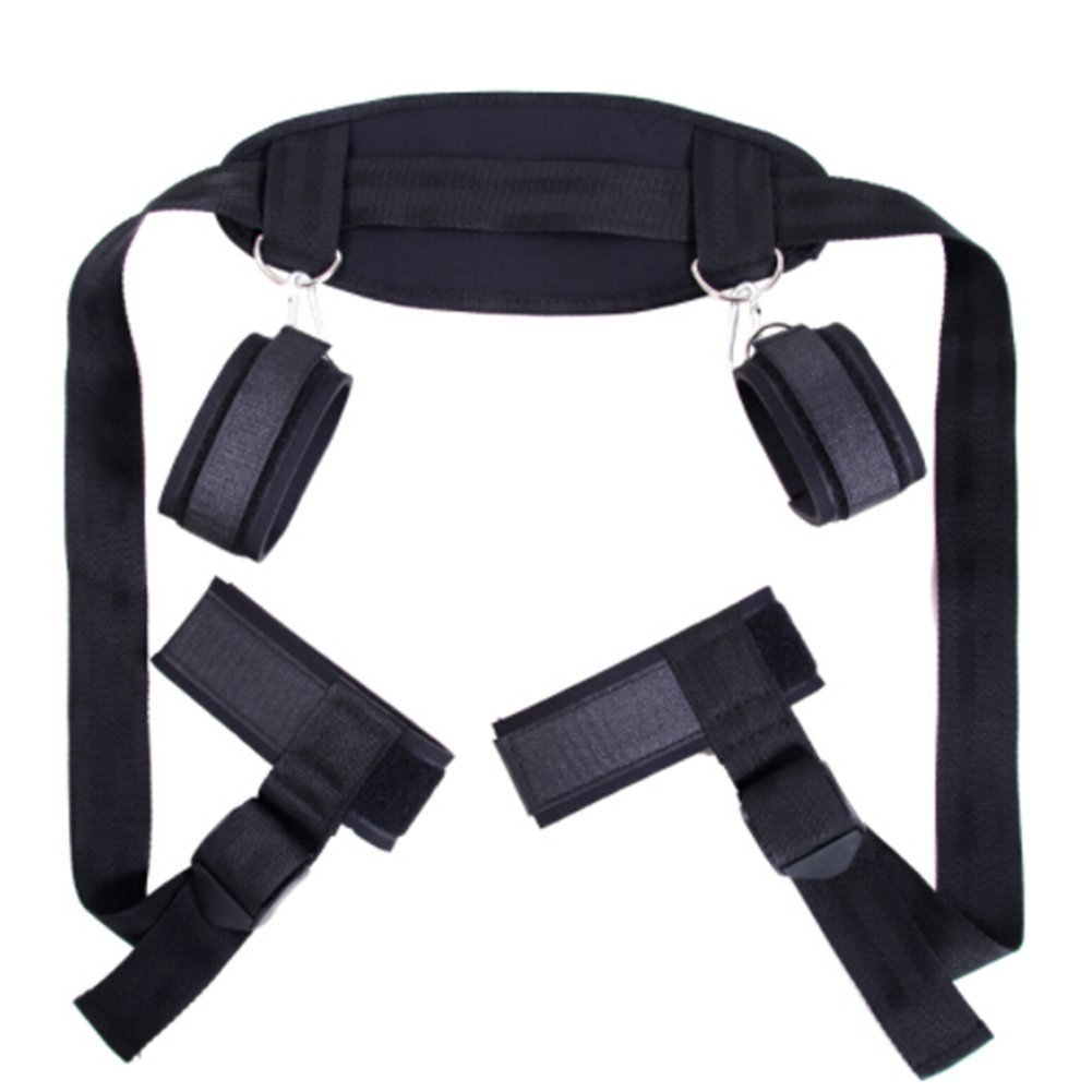 Beautychen Cosplay Adult Hand & Ankle Cuffs Strap Kit Bed Restraints Couple Flirt Toy for Party Game Restraint System Kit Medical Grade Adjustable Soft Wrist Set-sport01