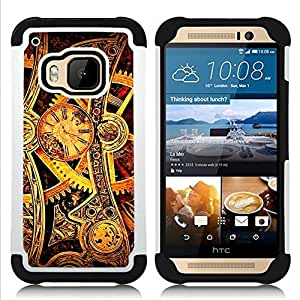 Dragon Case- Dise?¡Ào de doble capa pata de cabra Tuff Impacto Armor h??brido de goma suave de silicona cubierta d FOR HTC ONE M9- GEARS WATCH TIME WHEELS GOLD MECHANIC