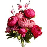 Mandy's Artificial Silk Autumn Red Peony Flowers Bouquet for Home Wedding Decoration