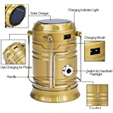 PAN PACIFIC 6 + 1 LED Rechargeable Solar Emergency Lantern with USB, Torch point, 2 Power Source and Lithium Battery (Black, Golden, Blue, Brown)