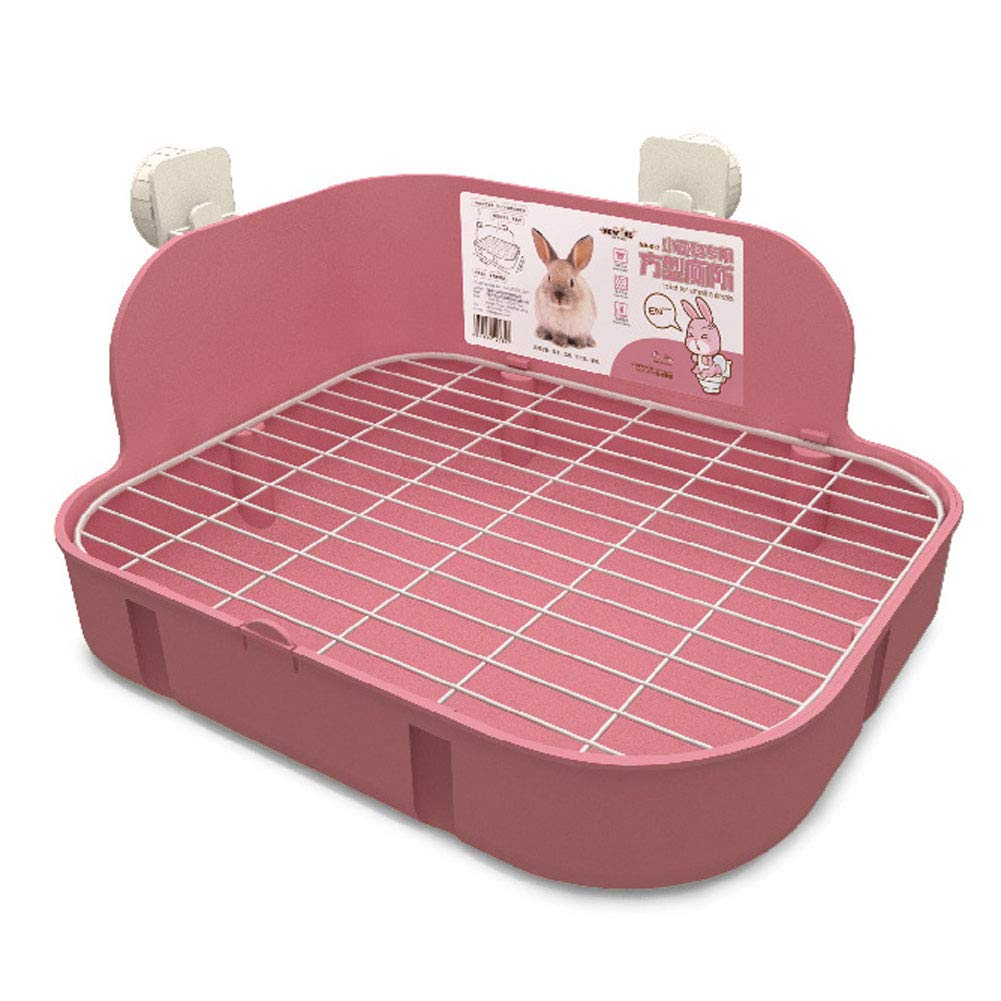 SunshineBio Rabbit Litter Box Toilet for Small Animal Bunny Rabbits Guinea Pig Galesaur Ferrets Corner Litter Pan Potty Trainer with Stainless Steel Panel Small Pets Cage Toilet Bedding Box (Pink)