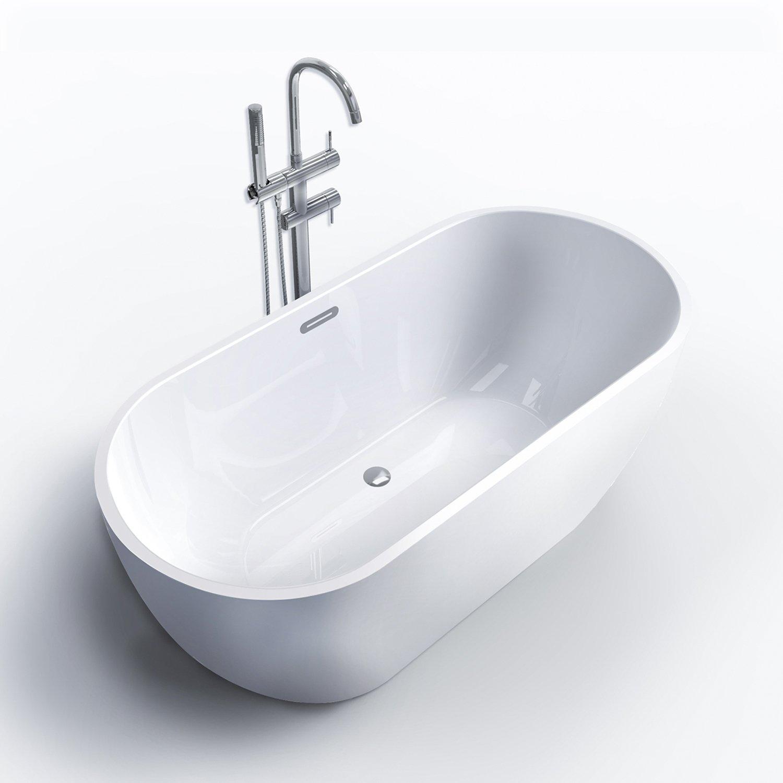 FerdY Freestanding Bathtub, Soaking Bath Tub, Stand Alone Tub for Bathroom, Contemporary Style, High Glossy, Acrylic, White (59'')