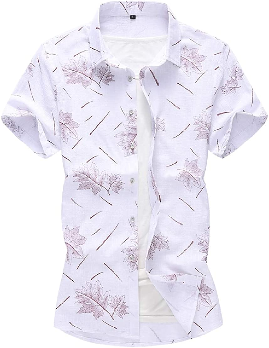 GRMO Men Fashion Short Sleeve Print Button Up Plus Size Slim Shirts