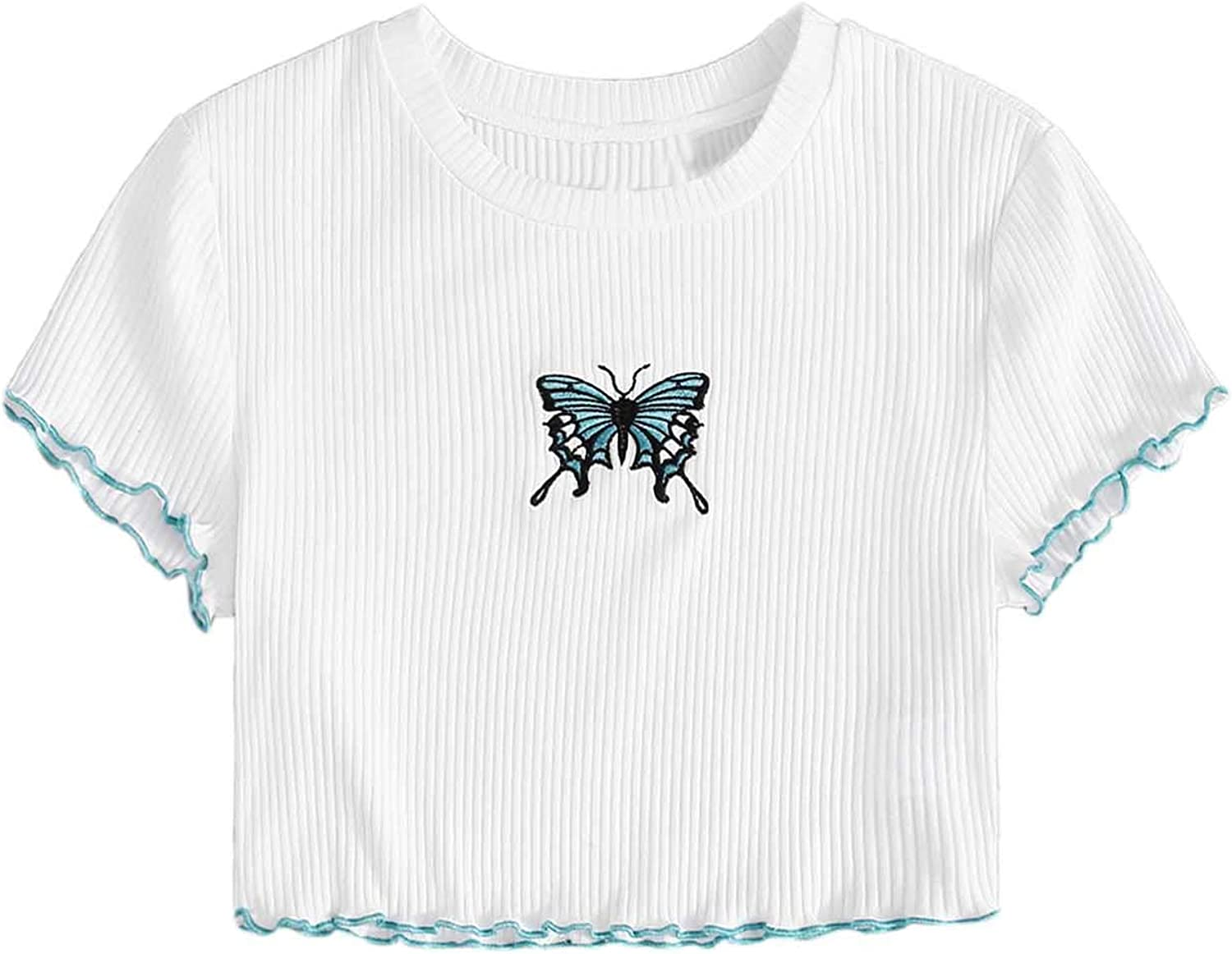 Embroidered butterfly Crop Tee