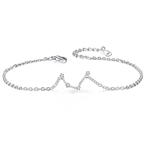 BriLove 925 Sterling Silver Bracelet -Aquarius Constellation Zodiac 12  Horoscope Astrology Women CZ Link Bracelet 9ca166d4bb