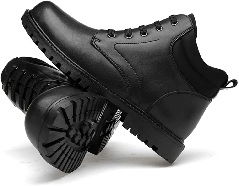 SJXIN-Mens Bottes Hiver Bottes d'hiver d'homme, Mode Bottes Cheville Homme Casual Bout Rond Classique High Top Bottes imperméables (Velours Chaud en Option) Black