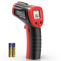 Laser Infrarot Thermometer, Eventek -50 bis +550°C (-58°F~ 1022°F) IR Pyrometer Infrarot Temperaturmessgerät Digital Thermometer Berührungslos Temperaturmesser LCD Beleuchtung, Schwarz/Rot