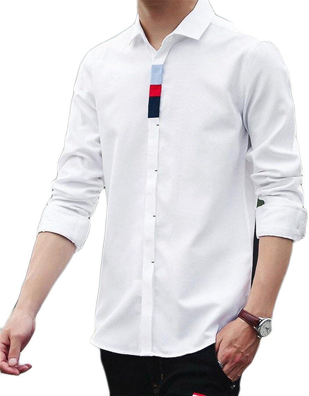 mydeshopMen Stylish Long Sleeve Solid Color Button Casual Dress Shirt